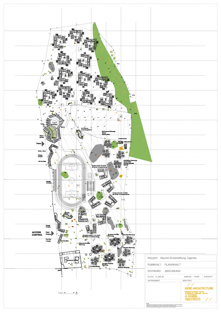 Erster Entwurf der Lage der Schulgebäude